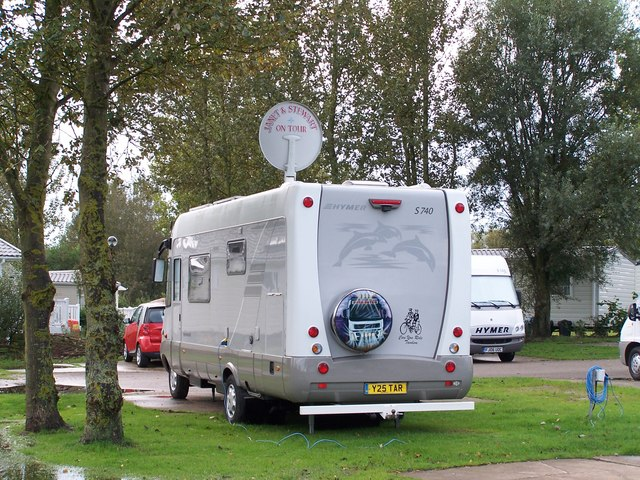 Fixed Satellite Dish, Hymer UK Rally, Marton Mere Holiday Village