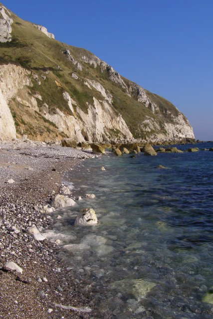 Chalk beach west of White Nothe