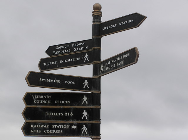 Signpost in Troon town