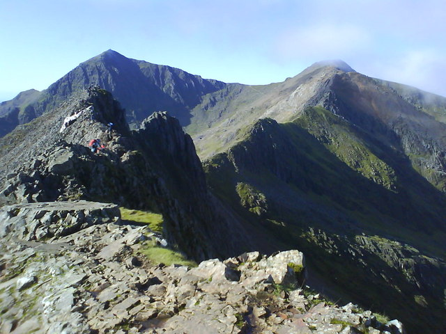 Crib Goch, looking towards Snowdon (1085m) and Garnedd Ugain (1065m)