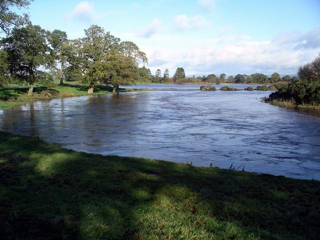 River Annan at Halleaths in flood