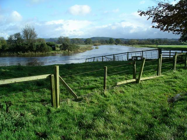River Annan in flood, Halleaths