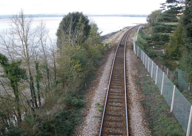 The line to Exeter, north of Lympstone