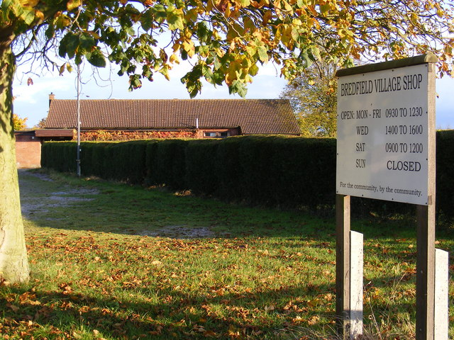 Bredfield Village Hall & Bredfield Village Shop sign