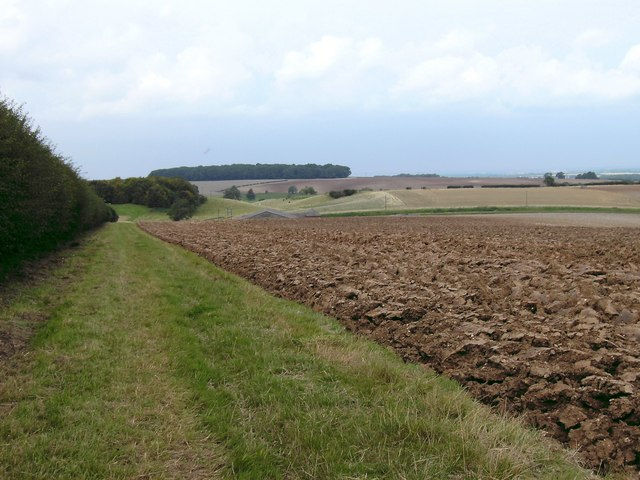 Ploughed field and Wolds Landscape.