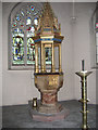 TQ2764 : All Saints church Carshalton - font by Stephen Craven