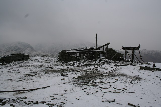 Abandoned quarry works, Old Man of Coniston, in the snow