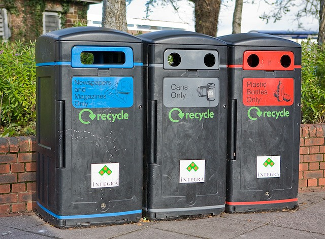 Colour-coded recycling bins outside Somerfield, Lower Northam Road