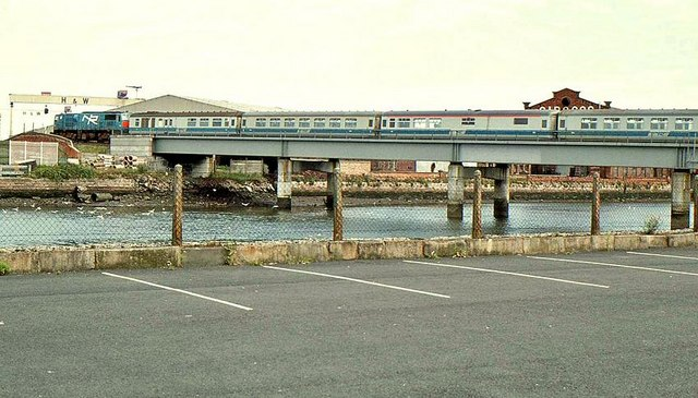 Car park and railway bridge, Belfast