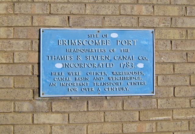 Blue Plaque at Brimscombe Port