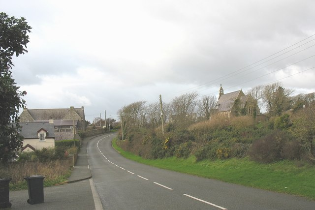 Llanfaelog Church and Community Centre from the Bryn Du road
