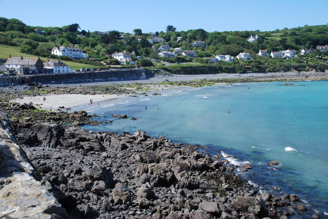 Coverack beach at high tide