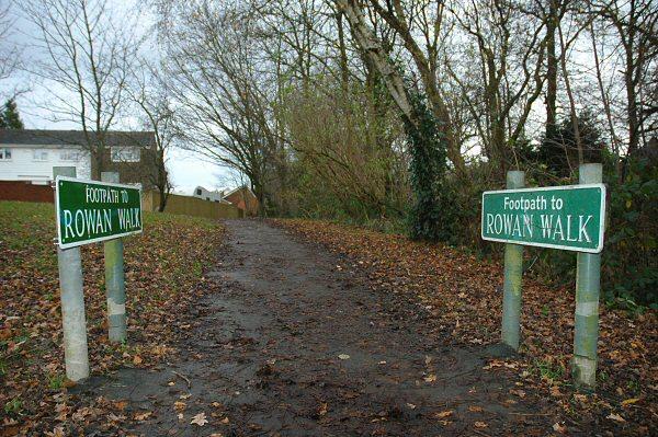 Footpath to Rowan Walk, Crawley Down