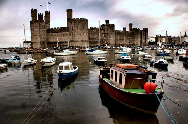 Caernarfon Castle with foreground boats