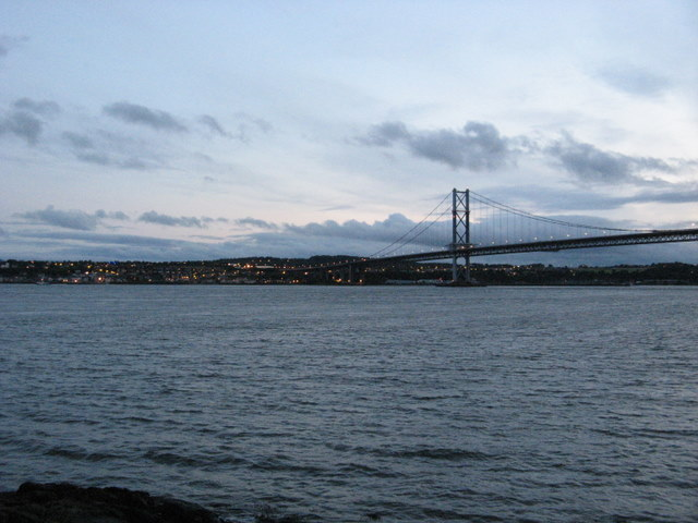 Start of Forth Road Bridge seen from North Queensferry