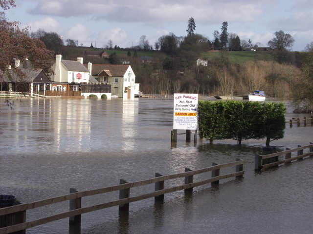 River Severn breaks its banks.