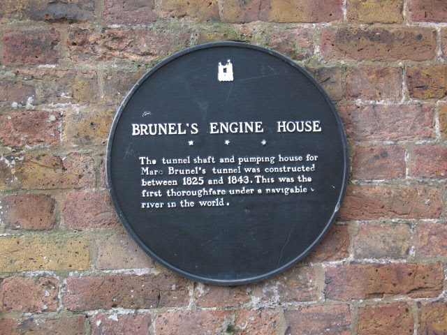 Marc Isambard Brunel and Brunel's Engine House black plaque - Brunel's Engine House The tunnel shaft and pumping house for Marc Brunel's tunnel was constructed between 1825 and 1843. This was the first thoroughfare under a navigable river in the world.