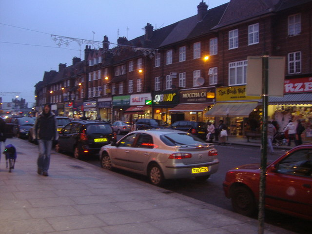 Golders Green Road at dusk