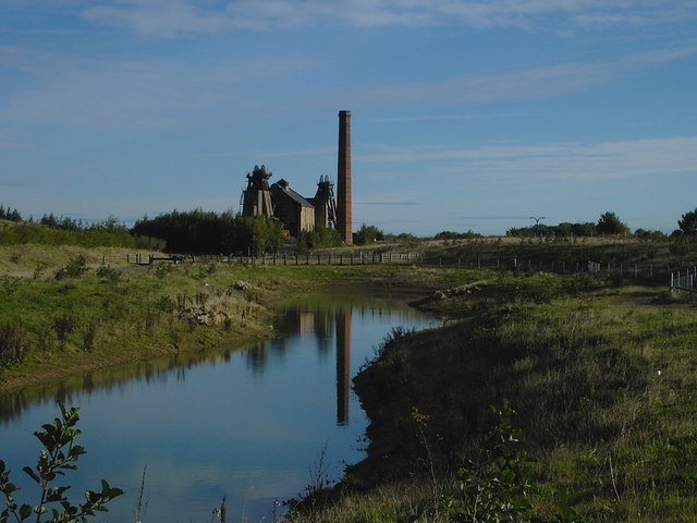 Pleasley - Colliery from Country Park pond