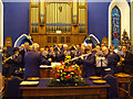 H4472 : St Eugene's Band at Trinity Church, Omagh by Kenneth  Allen
