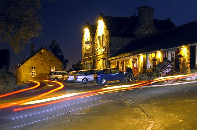 The Swan pub, Heddon on the Wall - night view