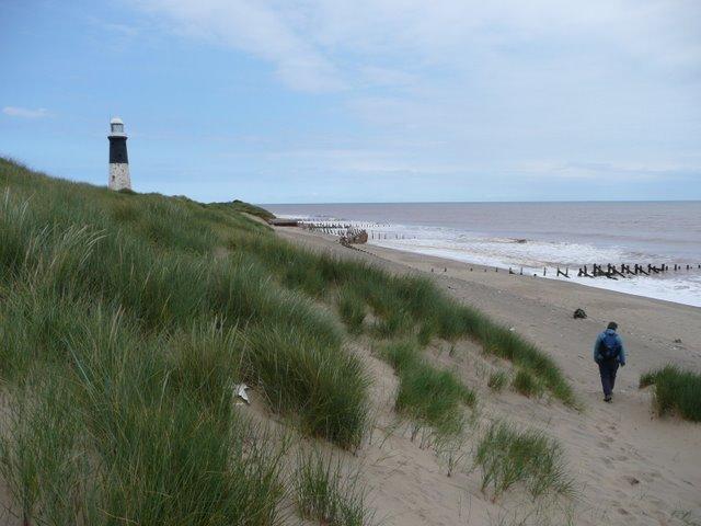 Descending the dunes at Spurn Point