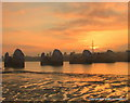 TQ4179 : Sunrise over The Thames Barrier by Ian Dalgliesh