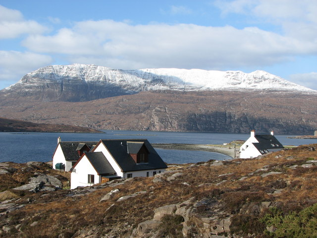 Ardmaor Bay and Ben Mohr Coigach  in winter
