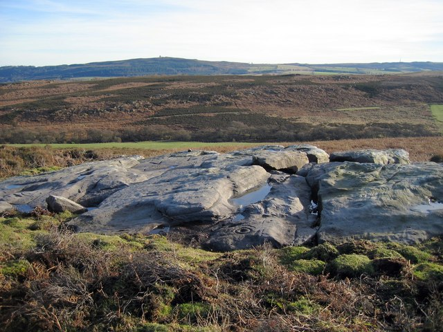 Cup and ring marked outcrop at Hunterheugh Crags