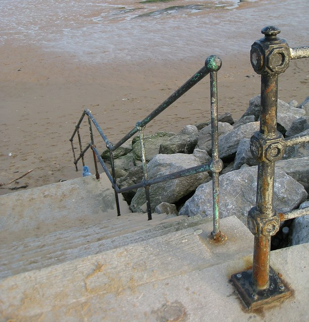 Victorian railings and steps to the sea