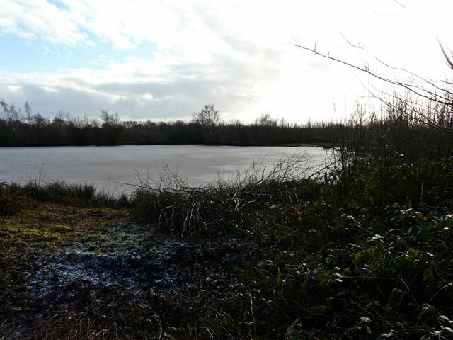 Frozen silt lagoon, Middleton Lakes RSPB Reserve