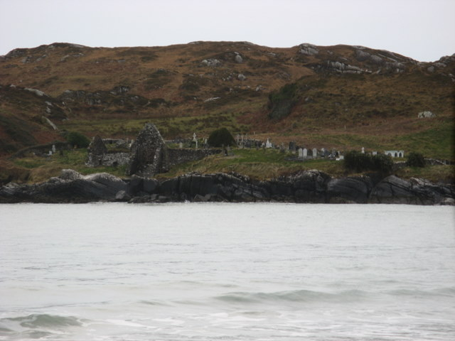 The derelict Abbey on Abbey Island near Derrynane