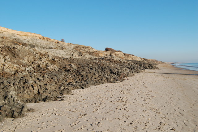 Barton On Sea. Cliff erosion, Barton on Sea,