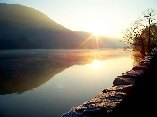 Ullswater, beneath a setting winter sun