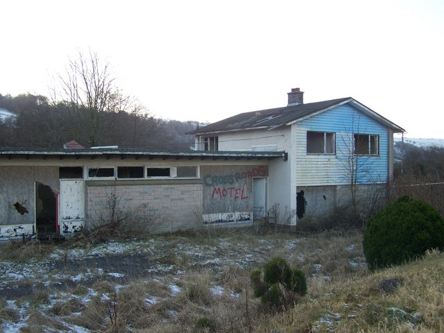 Derelict motel at Llywel