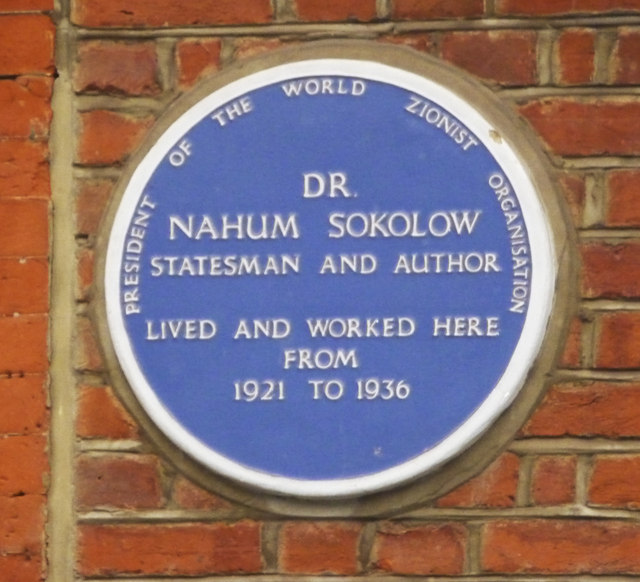 Photo of Nahum Sokolow blue plaque