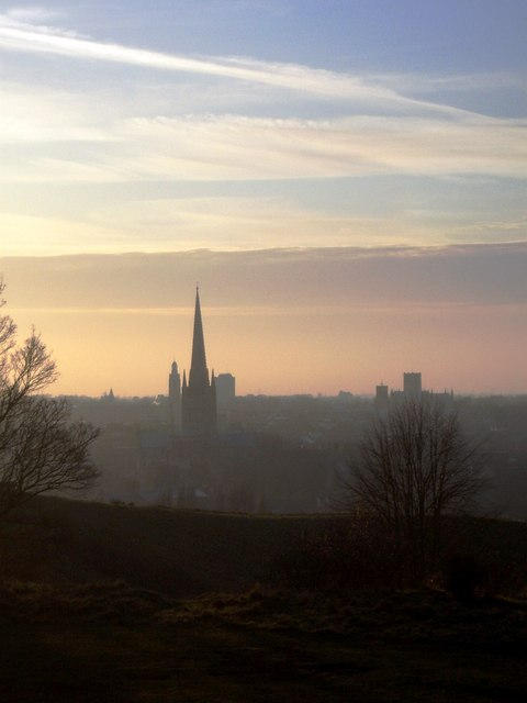 Norwich skyline from St James' Hill