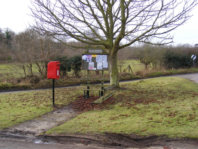 Playford Village Sign, Notice Board & The Street Postbox