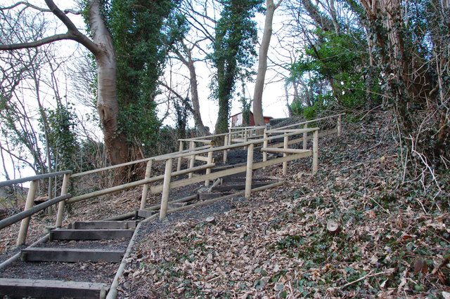 Wooden steps from Riverside Road to The Bar Castle Hill