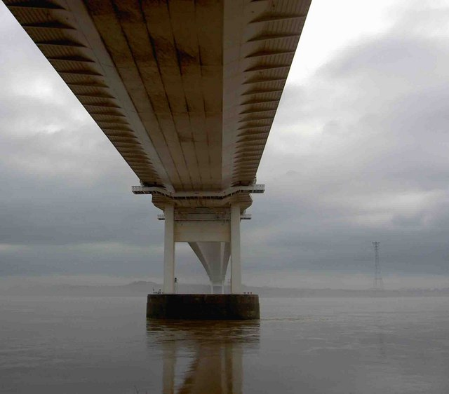 Underneath the original Severn Bridge on a misty morning