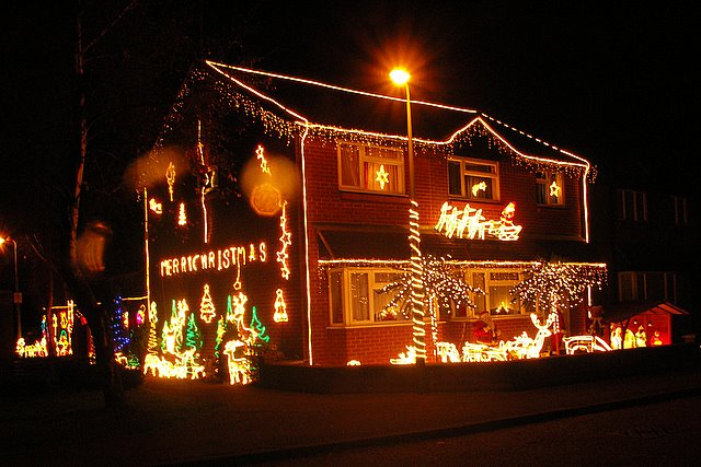 House decorated with Christmas lights at Moreton Hall