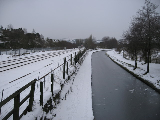 Railway and Frozen Canal in Diggle