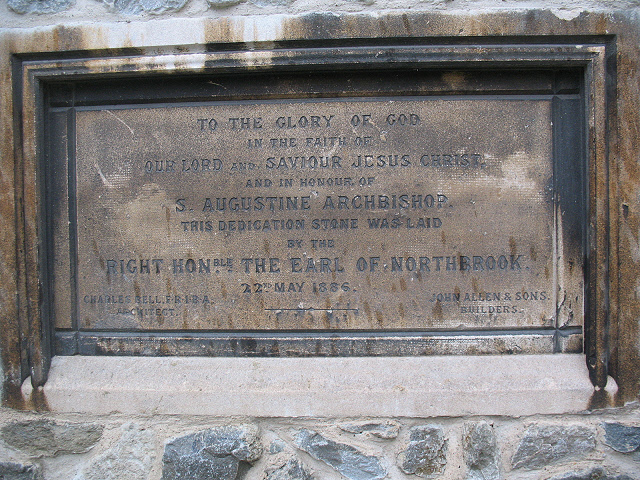 Foundation stone of St Augustine's church