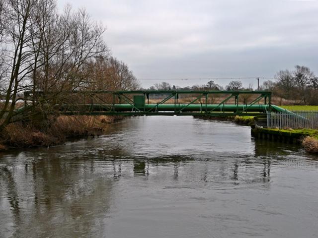 Pipeline over River Trent, near Nethertown