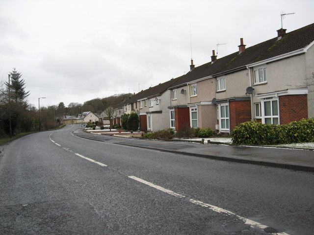 A row of terraced  houses on the A70