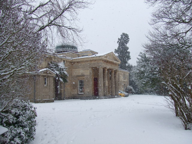 Cambridge Observatory (1823) in the snow