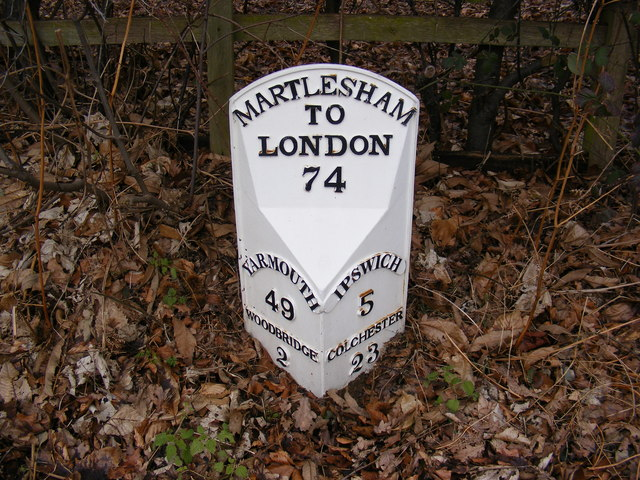 Milepost on the A1214 Main Road, Martlesham