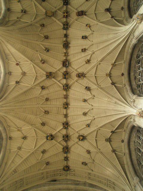 An awe inspiring ceiling above the high altar at Winchester Cathedral