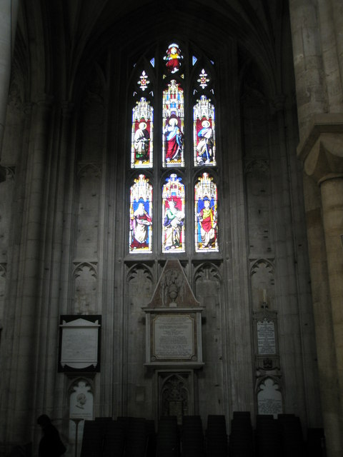 Stained glass window in the quire at Winchester Cathedral