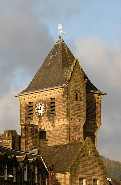The clock tower of the Burgh Buildings in Galashiels